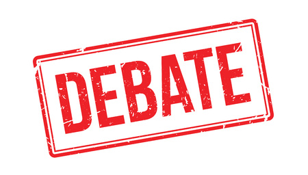 debate: Debate rubber stamp on white. Print, impress, overprint.