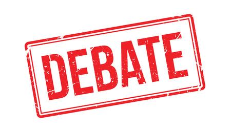 deliberation: Debate rubber stamp on white. Print, impress, overprint.