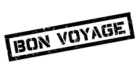 bon: Bon Voyage rubber stamp on white. Print, impress, overprint.