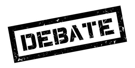 Debate rubber stamp on white. Print, impress, overprint.