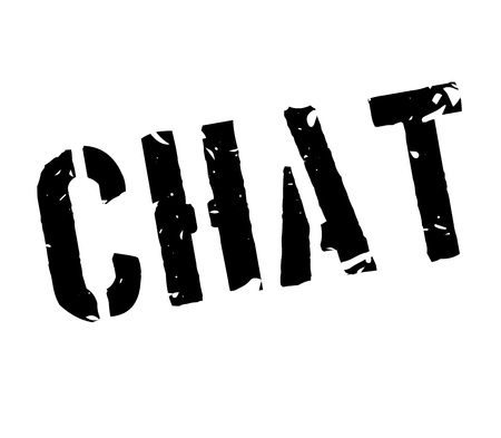 Chat rubber stamp on white. Print, impress, overprint.