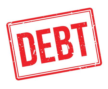 credit crunch: Debt rubber stamp on white. Print, impress, overprint.