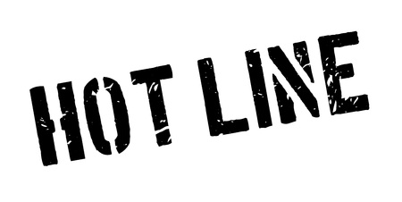 hot line: Hot line rubber stamp on white. Print, impress, overprint. Sign of 24 hour seven days phone service, open day and night to receive calls. An emergency consultation, assistance. Communication center.