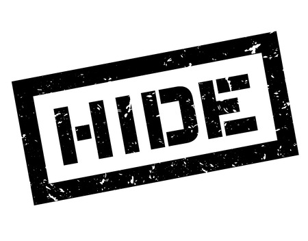 Hide rubber stamp on white. Print, impress, overprint.