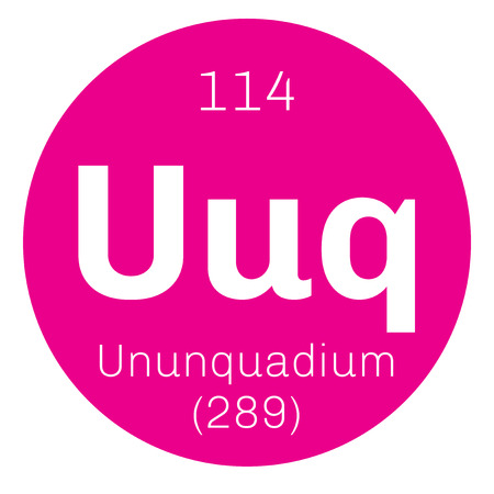 mendeleev: Ununquadium chemical element. Science symbol chemistry. Colored icon with atomic number and atomic weight. Chemical element of periodic table.
