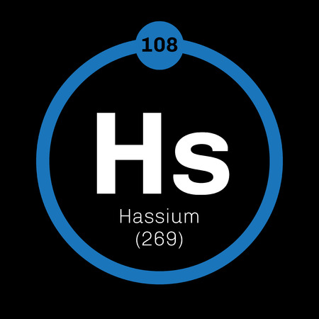 atomic number: Hassium chemical element. Radioactive synthetic element. Colored icon with atomic number and atomic weight. Chemical element of periodic table. Illustration