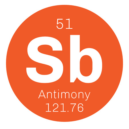 atomic number: Antimony chemical element. Gray metalloid. Colored icon with atomic number and atomic weight. Chemical element of periodic table. Illustration