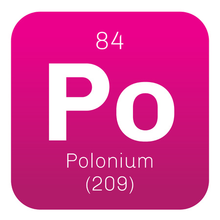 Polonium chemical element. Rare and highly radioactive metal. Colored icon with atomic number and atomic weight. Chemical element of periodic table.