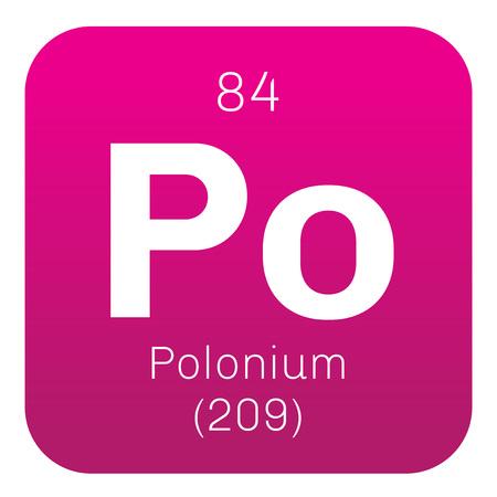 Polonium chemisch element. Zeldzame en zeer radioactief metaal. Gekleurde icoon met atoomnummer en atomaire gewicht. Scheikundig element van de periodieke tabel.