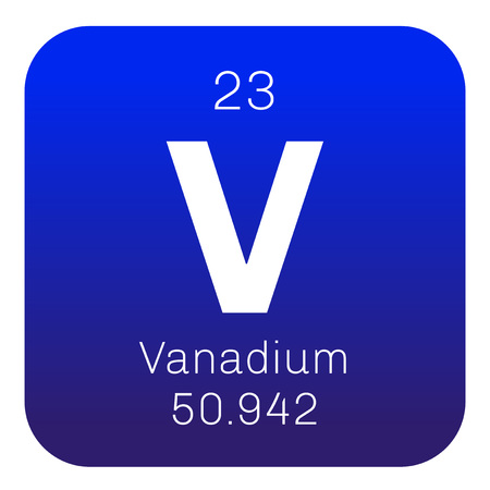 chemical element: Vanadium chemical element. Transition metal. Colored icon with atomic number and atomic weight. Chemical element of periodic table. Illustration