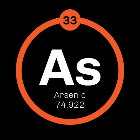 arsenic: Arsenic chemical element. Arsenic is a metalloid. Colored icon with atomic number and atomic weight. Chemical element of periodic table.