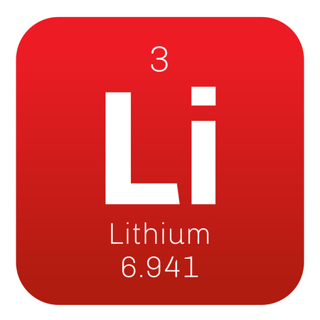 lithium: Lithium chemical element. The lightest metal, belongs to alkali metal group. Colored icon with atomic number and atomic weight. Chemical element of periodic table.