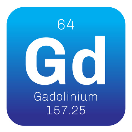 atomic: Gadolinium chemical element. Rare metal. Colored icon with atomic number and atomic weight. Chemical element of periodic table.
