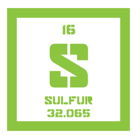atomic number: Sulfur chemical element. Abundant non-metal element. Colored icon with atomic number and atomic weight. Chemical element of periodic table.