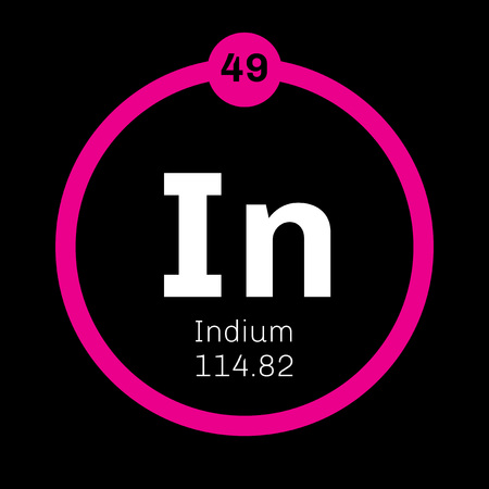 Indium chemical element. Soft post-transition metal. Colored icon with atomic number and atomic weight. Chemical element of periodic table.