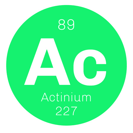 electrons: Actinium chemical element. Radioactive chemical element. Colored icon with atomic number and atomic weight. Chemical element of periodic table.