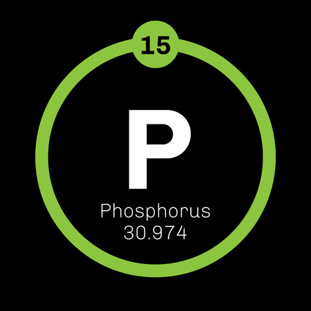 Phosphorus chemical element. Highly reactive element. Colored icon with atomic number and atomic weight. Chemical element of periodic table.
