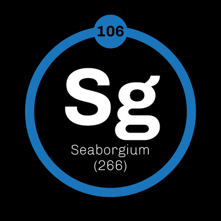 atomic number: Seaborgium chemical element. Synthetic element. Colored icon with atomic number and atomic weight. Chemical element of periodic table.
