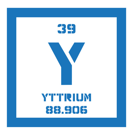 rare: Yttrium chemical element. Transition metal, rare element. Colored icon with atomic number and atomic weight. Chemical element of periodic table.