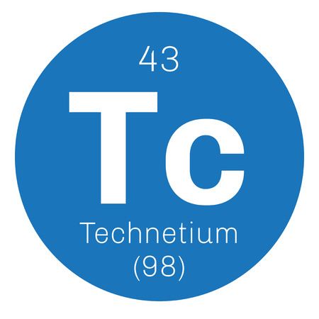 actinoids: Technetium chemical element. Lightest radioactive element. Colored icon with atomic number and atomic weight. Chemical element of periodic table.