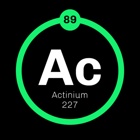 Actinium chemical element. Radioactive chemical element. Colored icon with atomic number and atomic weight. Chemical element of periodic table.