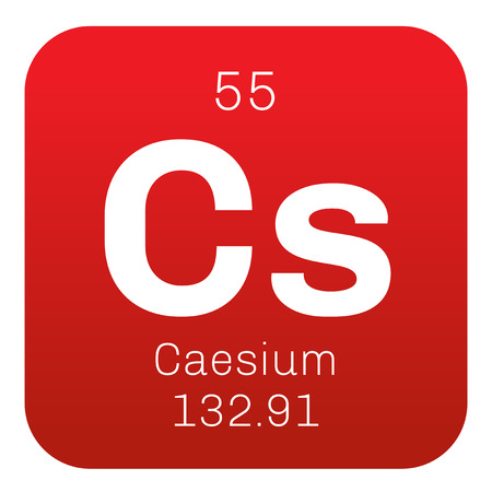 caesium: Caesium chemical element. Soft alkali metal. Colored icon with atomic number and atomic weight. Chemical element of periodic table.