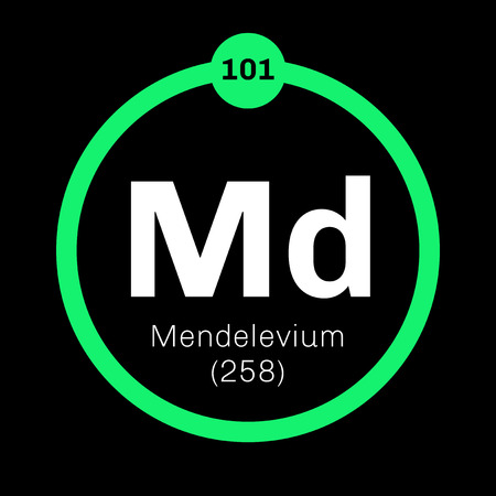 Mendelevium chemical element. Synthetic element. Colored icon with atomic number and atomic weight. Chemical element of periodic table.