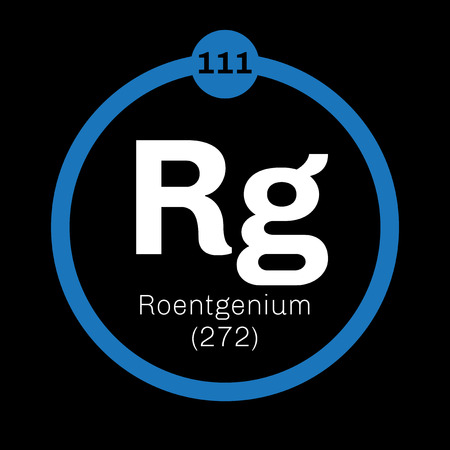 atomic number: Roentgenium chemical element. Extremely radioactive synthetic element. Colored icon with atomic number and atomic weight. Chemical element of periodic table.