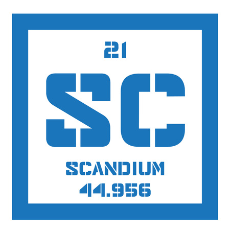 affinity: Scandium chemical element. Rare Earth element. Colored icon with atomic number and atomic weight. Chemical element of periodic table.