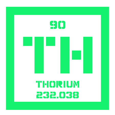 thorium: Thorium chemical element. A radioactive actinide metal. Colored icon with atomic number and atomic weight. Chemical element of periodic table.