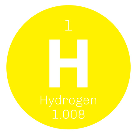 Hydrogen chemical element. The lightest element on the periodic table. Colored icon with atomic number and atomic weight. Chemical element of periodic table.
