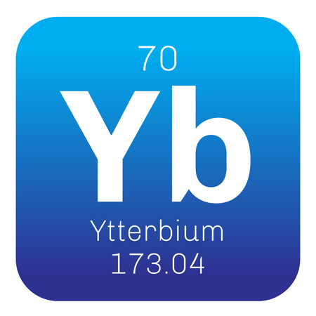 mendeleev: Ytterbium chemical element. Ytterbium is an element in the lanthanide series. Colored icon with atomic number and atomic weight. Chemical element of periodic table.