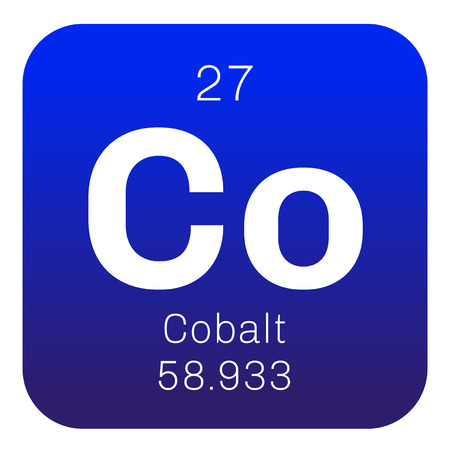 Cobalt chemical element. Colored icon with atomic number and atomic weight. Chemical element of periodic table.