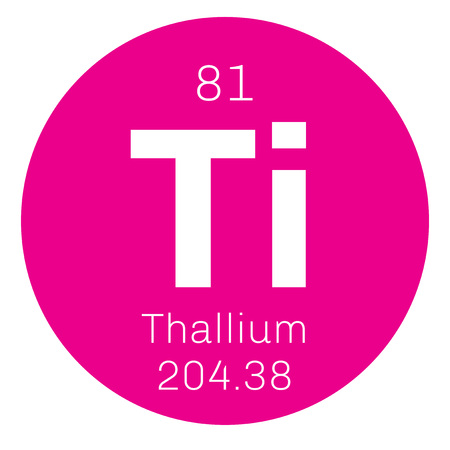 tl: Thallium chemical element. Soft gray post-transition metal. Colored icon with atomic number and atomic weight. Chemical element of periodic table.