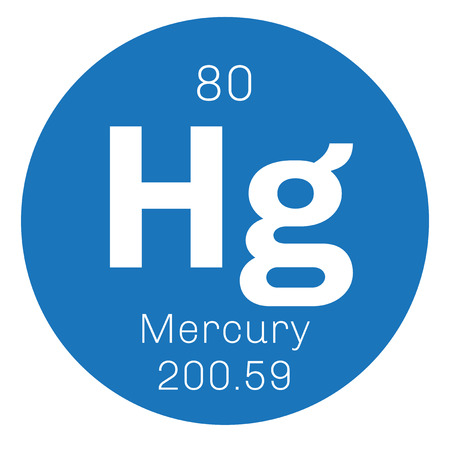 Mercury chemical element. Commonly known as quicksilver. Colored icon with atomic number and atomic weight. Chemical element of periodic table.