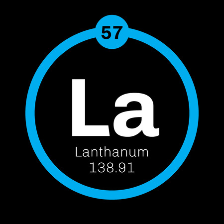 Lanthanum chemical element. Soft metallic chemical element. Colored icon with atomic number and atomic weight. Chemical element of periodic table.