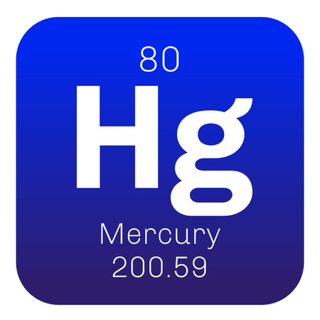 mercury: Mercury chemical element. Commonly known as quicksilver. Colored icon with atomic number and atomic weight. Chemical element of periodic table.