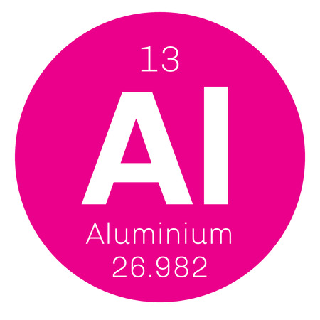 affinity: Aluminium chemical element. One of the most abundant elements. Colored icon with atomic number and atomic weight. Chemical element of periodic table. Illustration