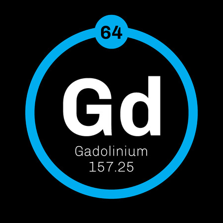 chemical element: Gadolinium chemical element. Rare metal. Colored icon with atomic number and atomic weight. Chemical element of periodic table.