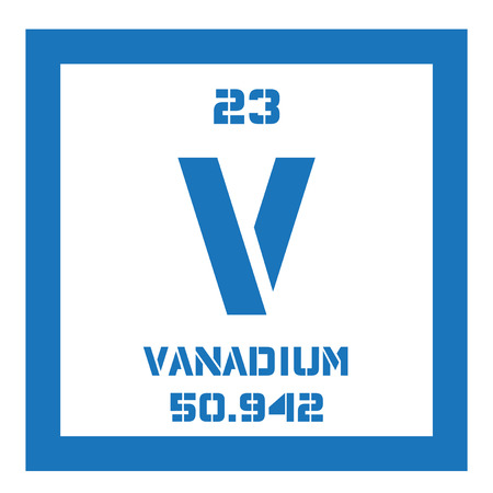 atomic number: Vanadium chemical element. Transition metal. Colored icon with atomic number and atomic weight. Chemical element of periodic table. Illustration