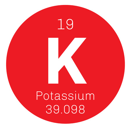 Potassium chemical element. Elemental potassium is a soft silver white alkali metal. Illustration