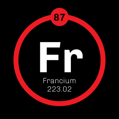 Francium chemical element. Francium is a highly radioactive metal. Colored icon with atomic number and atomic weight. Chemical element of periodic table.