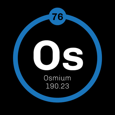 atomic number: Osmium chemical element. Osmium is the densest naturally occurring element. Colored icon with atomic number and atomic weight. Chemical element of periodic table. Illustration