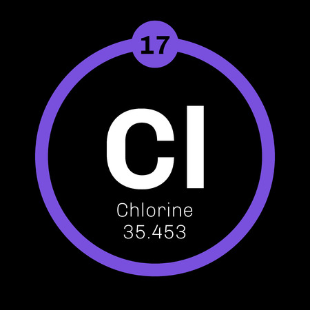 atomic: Chlorine chemical element. Strong oxidizing agent. Colored icon with atomic number and atomic weight. Chemical element of periodic table.