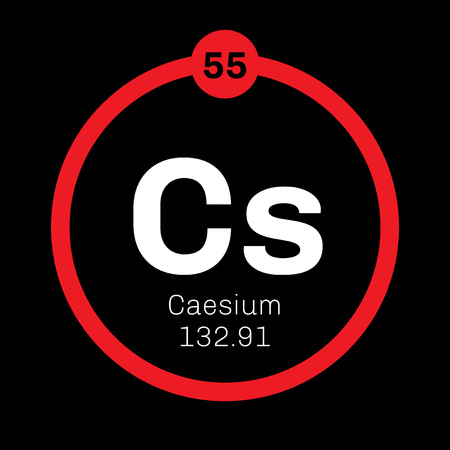 Caesium chemical element. Soft alkali metal. Colored icon with atomic number and atomic weight. Chemical element of periodic table.