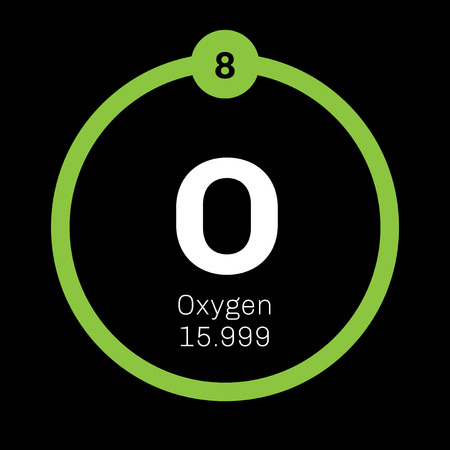 Oxygen chemical element. Highly reactive nonmetal and oxidizing agent. Colored icon with atomic number and atomic weight. Chemical element of periodic table. Illustration