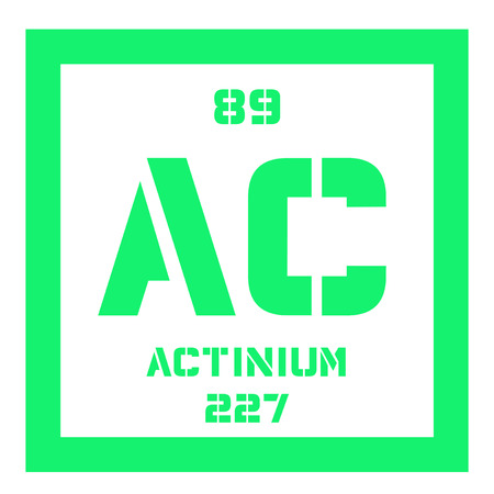 atomic: Actinium chemical element. Radioactive chemical element. Colored icon with atomic number and atomic weight. Chemical element of periodic table.
