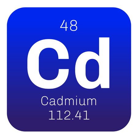 cadmium: Cadmium chemical element. Transition metal. Colored icon with atomic number and atomic weight. Chemical element of periodic table. Illustration