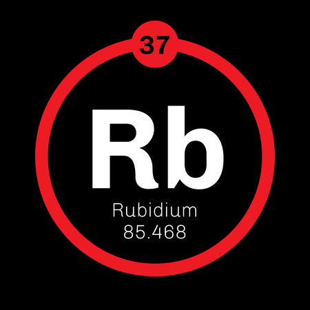 electrons: Rubidium is a chemical element. Soft, silver white element of the alkali metal group. Slightly radioactive. Illustration