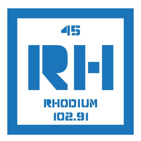 rhodium: Rhodium chemical element. Silver white, hard and inert metal, belongs to the platinum group. Illustration